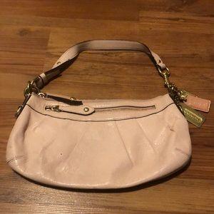 Vintage Coach Baby Pink Leather Shoulder Bag Purse Gold Details Small 12944